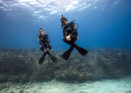 2 buceadores realizando ejercicios de flotabilidad